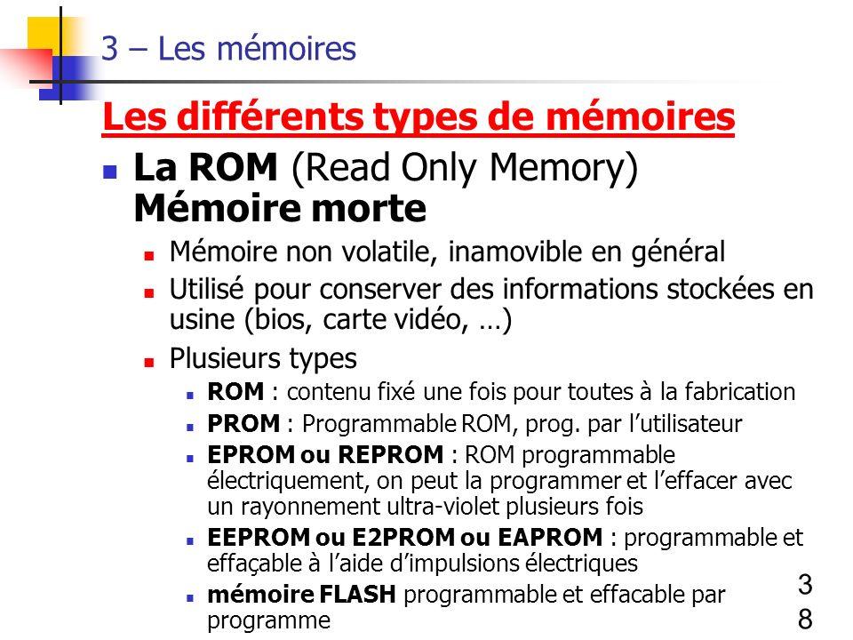 38 3 – Les mémoires Les différents types de mémoires La ROM (Read Only Memory) Mémoire morte Mémoire non volatile, inamovible en général Utilisé pour conserver des informations stockées en usine (bios, carte vidéo, …) Plusieurs types ROM : contenu fixé une fois pour toutes à la fabrication PROM : Programmable ROM, prog.