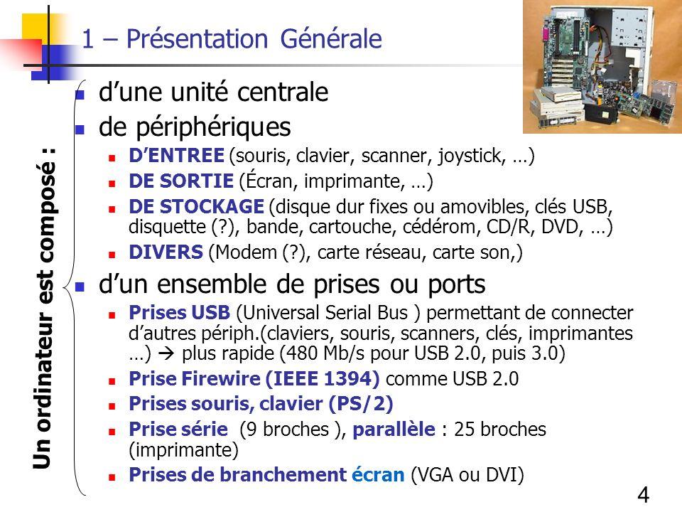4 1 – Présentation Générale dune unité centrale de périphériques DENTREE (souris, clavier, scanner, joystick, …) DE SORTIE (Écran, imprimante, …) DE STOCKAGE (disque dur fixes ou amovibles, clés USB, disquette (?), bande, cartouche, cédérom, CD/R, DVD, …) DIVERS (Modem (?), carte réseau, carte son,) dun ensemble de prises ou ports Prises USB (Universal Serial Bus ) permettant de connecter dautres périph.(claviers, souris, scanners, clés, imprimantes …) plus rapide (480 Mb/s pour USB 2.0, puis 3.0) Prise Firewire (IEEE 1394) comme USB 2.0 Prises souris, clavier (PS/2) Prise série (9 broches ), parallèle : 25 broches (imprimante) Prises de branchement écran (VGA ou DVI) Un ordinateur est composé :