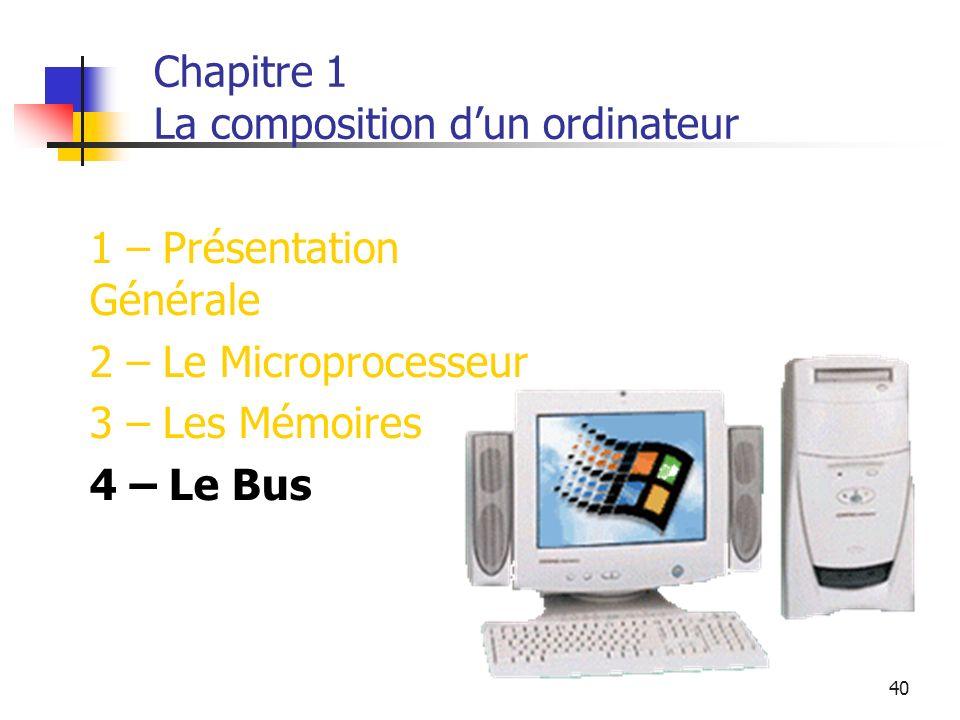 40 Chapitre 1 La composition dun ordinateur 1 – Présentation Générale 2 – Le Microprocesseur 3 – Les Mémoires 4 – Le Bus