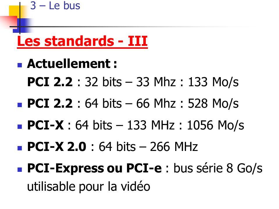 3 – Le bus Les standards - III Actuellement : PCI 2.2 : 32 bits – 33 Mhz : 133 Mo/s PCI 2.2 : 64 bits – 66 Mhz : 528 Mo/s PCI-X : 64 bits – 133 MHz : 1056 Mo/s PCI-X 2.0 : 64 bits – 266 MHz PCI-Express ou PCI-e : bus série 8 Go/s utilisable pour la vidéo