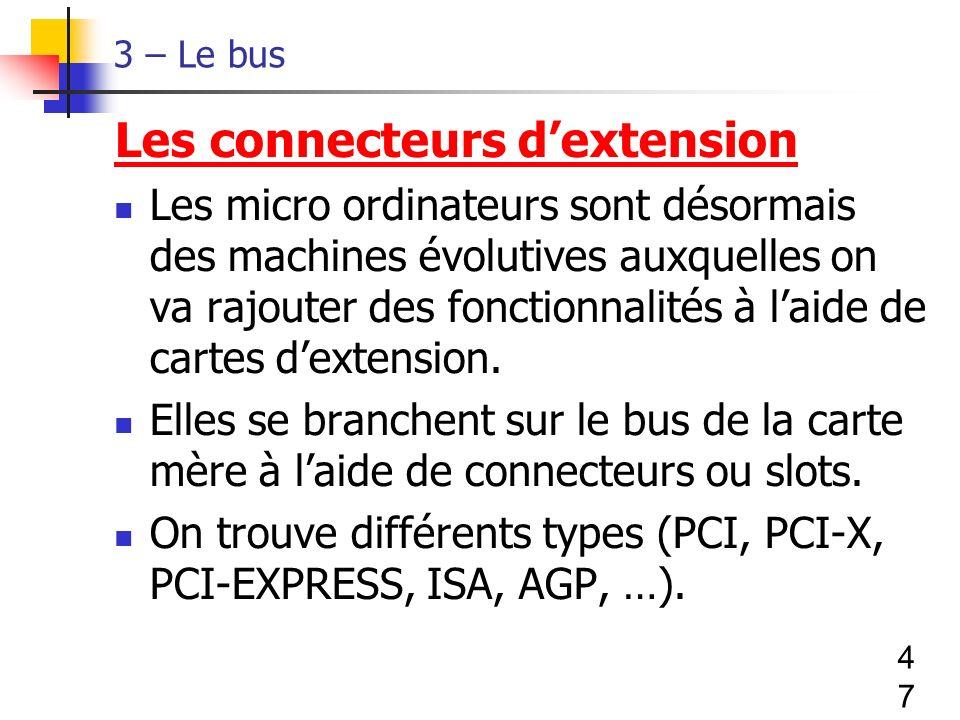 47 3 – Le bus Les connecteurs dextension Les micro ordinateurs sont désormais des machines évolutives auxquelles on va rajouter des fonctionnalités à laide de cartes dextension.