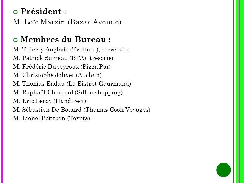 Président : M. Loïc Marzin (Bazar Avenue) Membres du Bureau : M. Thierry Anglade (Truffaut), secrétaire M. Patrick Surreau (BPA), trésorier M. Frédéri