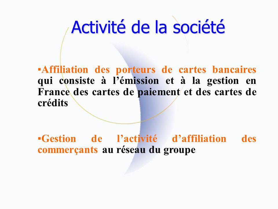 Activité de la société Affiliation des porteurs de cartes bancaires qui consiste à lémission et à la gestion en France des cartes de paiement et des cartes de crédits Gestion de lactivité daffiliation des commerçants au réseau du groupe