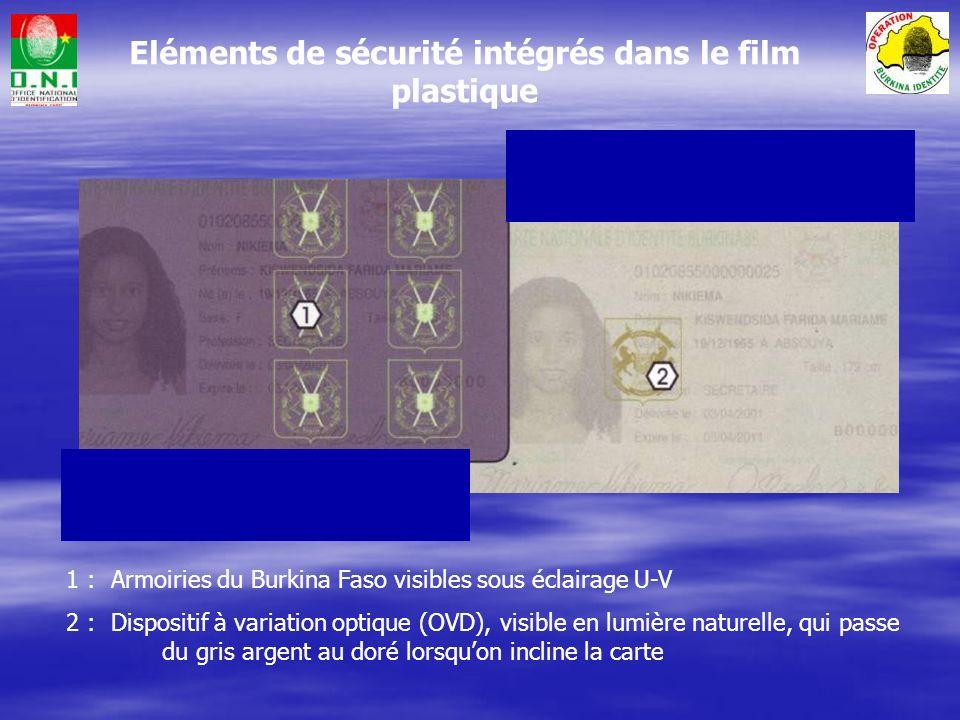 1 : Lignes lisibles par lecteur optique conformes aux standards de lOACI 2 : Masque papillon dorigine Burkinabé 3 : Données personnelles 4 : Code à barres 2D lisible par ordinateur, contenant données personnelles et empreinte digitale 5 : Eléments anti-photocopie