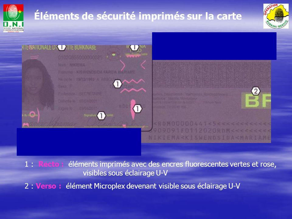 Eléments de sécurité intégrés dans le film plastique 1 : Armoiries du Burkina Faso visibles sous éclairage U-V 2 : Dispositif à variation optique (OVD), visible en lumière naturelle, qui passe du gris argent au doré lorsquon incline la carte