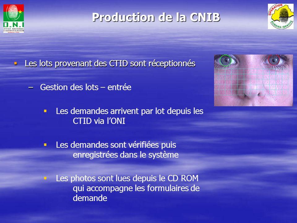 CPC : Centre de production des CNIB Office National dIdentification CCD 1 : Centre de Collecte et de Distribution CNIB Lots de Formulaires regroupés a
