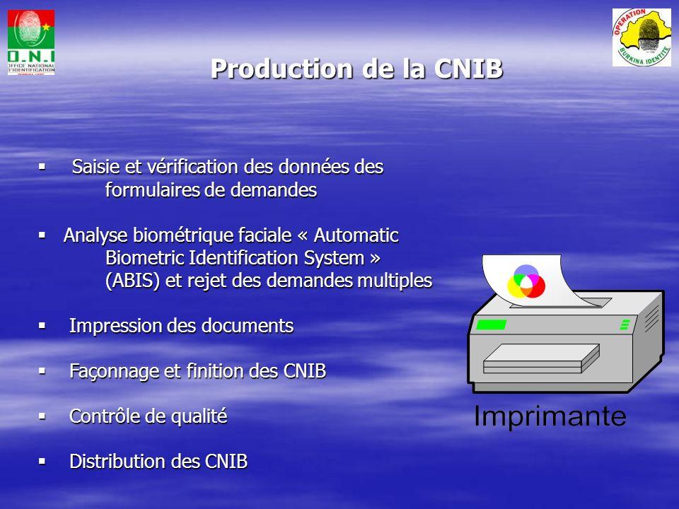 Les lots provenant des CTID sont réceptionnés Les lots provenant des CTID sont réceptionnés – – Gestion des lots – entrée Les demandes arrivent par lot depuis les CTID via lONI Les demandes sont vérifiées puis enregistrées dans le système Les photos sont lues depuis le CD ROM qui accompagne les formulaires de demande Production de la CNIB