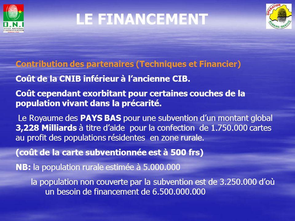 LE FINANCEMENT La mise en œuvre du projet BURKINA IDENTITE a été rendue possible par le préfinancement par la CANADIAN BANK NOTE de lensemble des équi
