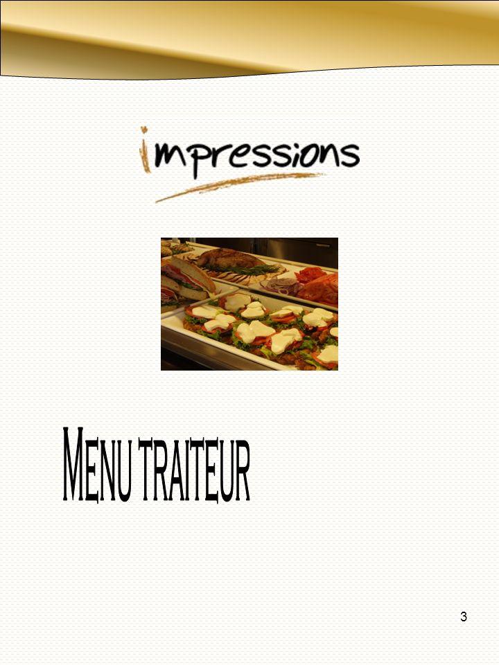 4 Muffin régulier $ 1,65 Mini muffin $ 1.00 Croissant $ 1,35 Viennoiserie $1.85 Mini viennoiserie $ 1,00 Biscuit gourmet $1.00 Galette $1.60 Mini pâtisserie (2) $2.00 Bagel $ 1.20 Parfait au yogourt et fruits $ 3.00 Salade de fruits $1.75 Brochette de fruits frais $ 1.50 Brochette de fruits et cheddar $ 3,00 Brochette de fruits frais et trempette au yogourt $ 2.50/pers (1brochette régulière ou 2 petite) Assiette de fruits $ 1,75/pers Assiette de fruits et trempette de yogourt $2.75/pers Assiette de fruits et fromage $3.25/pers Assiette de fruits exotique $ 2.75/pers Boissons chaudes et froides Café équitable (minimum 10 tasses) $ 1,45/personne Thé (minimum 10 tasses) $ 1,05/tasse Jus de fruits fairlee $1.40 Jus de fruits tropicana $2.95 Liqueur cannette $1.25 Pichet de jus fontaine $ 6.00 Eau de source embouteillée (500 ml) $ 1,50 Eau Perrier $ Jus de légumes $ 1.85 Jus de légumes petit $1.00 À la carte Les taxes ne sont pas incluses dans les prix