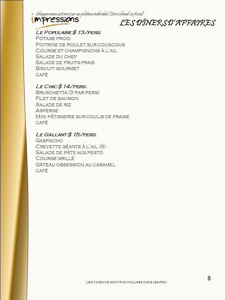 9 Nos salades Les choix de salades Salade fraîche du potager $1.50/pers Mélange printanier, tomates fraîches, carottes, concombres servis avec une vinaigrette (vinaigrette à faible teneur en gras disponible sur demande) Salade de tomates, concombre et feta $2.00/pers Tomates, concombres, poivrons verts, olives noires, fromage feta, oignons rouges et vinaigrette grecque Salade dépinards, coeurs dartichauts et de palmier $2.00/pers Épinards, cœurs dartichauts et cœurs de palmier, tomates cerise, échalote et vinaigrette aux tomates séchées et pesto Salade péruvienne $2.00/pers Châtaignes deau, légumineuses, brocoli, céleri, poivrons verts et rouges Salade de pâtes à lItalienne $1.75/pers Saucisses italiennes, courgettes, poivrons, tomates italiennes, et oignons rouges Salade de légumes marinés aux herbes du jardin $1.75/pers Chou-fleur, brocoli, échalotes, poivrons rouges et verts, céleri, carottes parfumées aux herbes du jardin Salade de pommes de terre aux lardons et Dijon $1.75/pers Pommes de terre nouvelles, dés de bacon, poivrons rouges, mayonnaise, crème sûre et moutarde de Dijon Salade de brocoli, tomates et cœurs de palmier $2.00/pers Brocoli, quartiers de tomates, cœurs de palmier, vinaigrette au basilic Salade de pâtes andalouses $1.75/pers Pâtes, poivrons, olives noires, tomates et vinaigrette aux tomates séchées au soleil Salade césar $1.75/pers Salade romaine, croûtons, bacon, parmesan, vinaigrette Salade épinards et mandarines $1.75/pers Épinards, mandarine, oignons rouge, vinaigrette graine de pavot