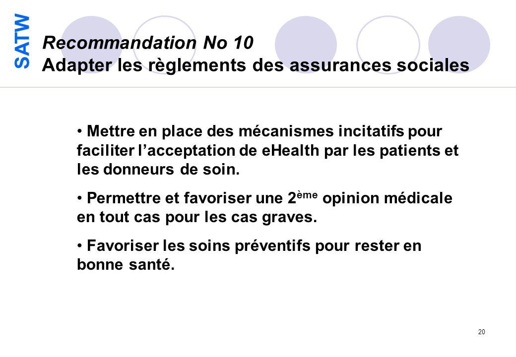 SATW 20 Recommandation No 10 Adapter les règlements des assurances sociales Mettre en place des mécanismes incitatifs pour faciliter lacceptation de eHealth par les patients et les donneurs de soin.