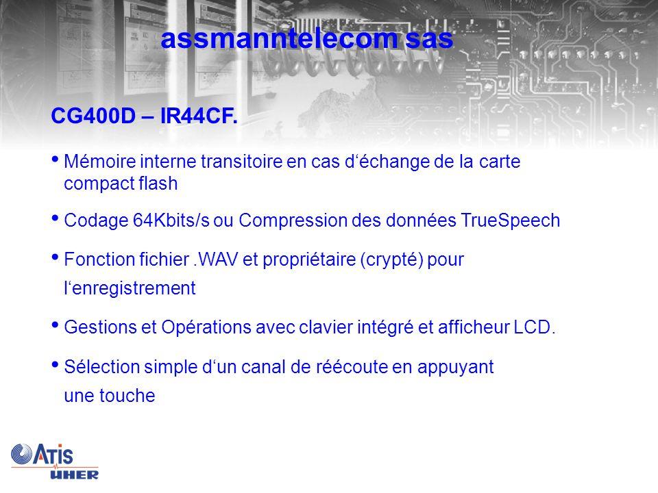 CG400D – IR44CF Démarrage denregistrement possible à la main, VOX ou par connection TCP/IP LAN de base Evaluation DTMF und CLIP / Caller-ID en cas de