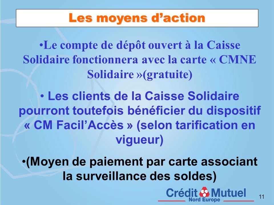 11 Les moyens daction Le compte de dépôt ouvert à la Caisse Solidaire fonctionnera avec la carte « CMNE Solidaire »(gratuite) Les clients de la Caisse