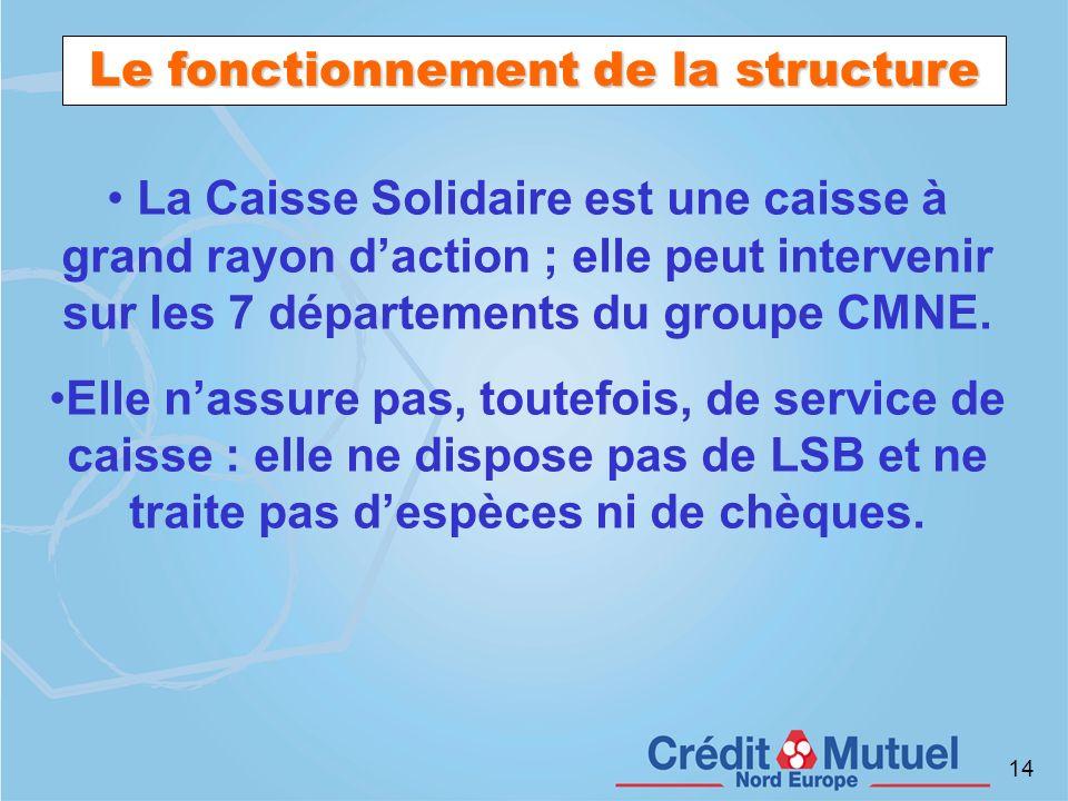14 Le fonctionnement de la structure La Caisse Solidaire est une caisse à grand rayon daction ; elle peut intervenir sur les 7 départements du groupe