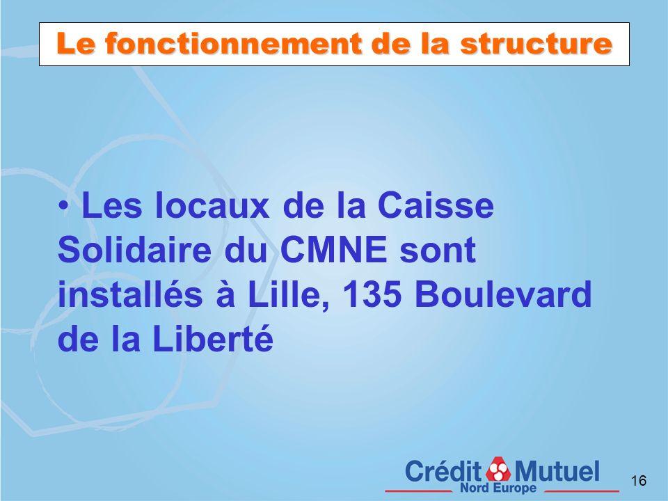 16 Le fonctionnement de la structure Les locaux de la Caisse Solidaire du CMNE sont installés à Lille, 135 Boulevard de la Liberté