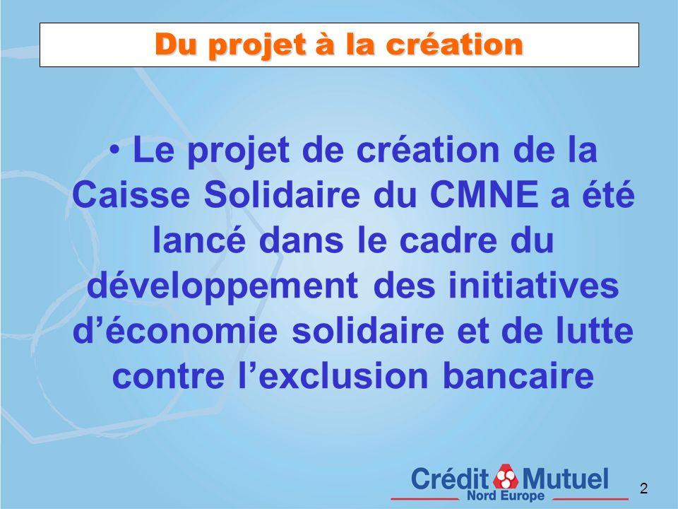 2 Du projet à la création Le projet de création de la Caisse Solidaire du CMNE a été lancé dans le cadre du développement des initiatives déconomie so