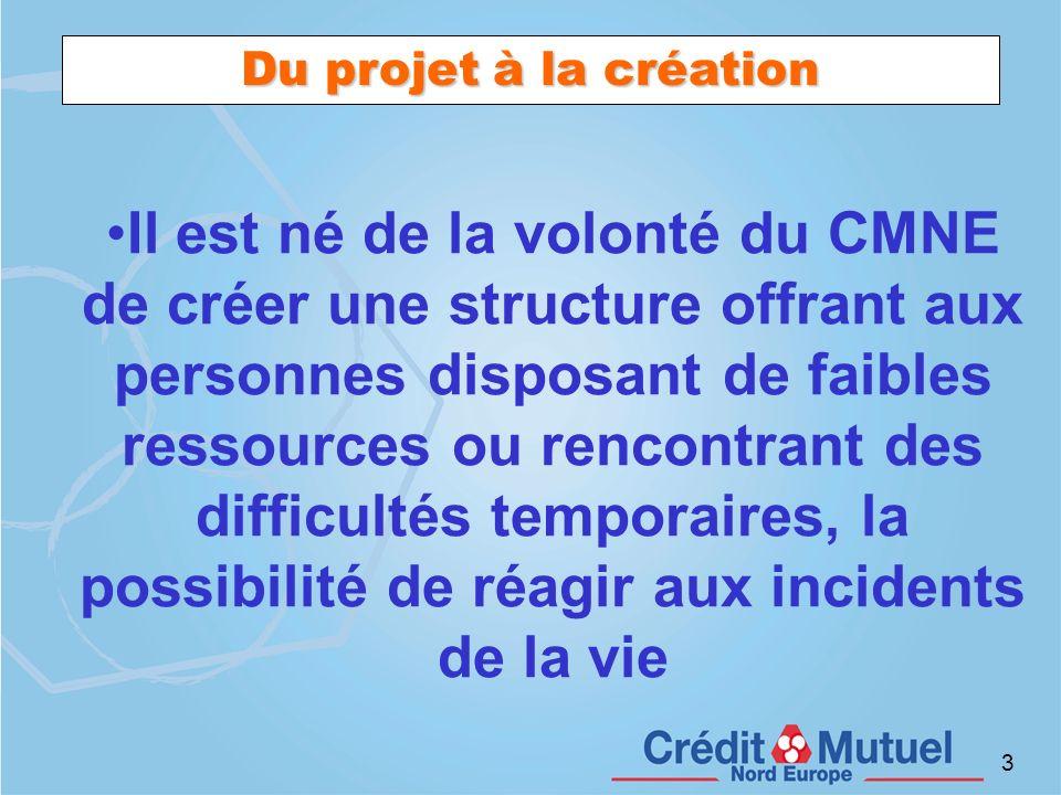 3 Du projet à la création Il est né de la volonté du CMNE de créer une structure offrant aux personnes disposant de faibles ressources ou rencontrant