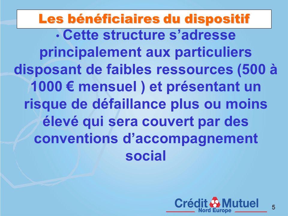 5 Les bénéficiaires du dispositif Cette structure sadresse principalement aux particuliers disposant de faibles ressources (500 à 1000 mensuel ) et pr