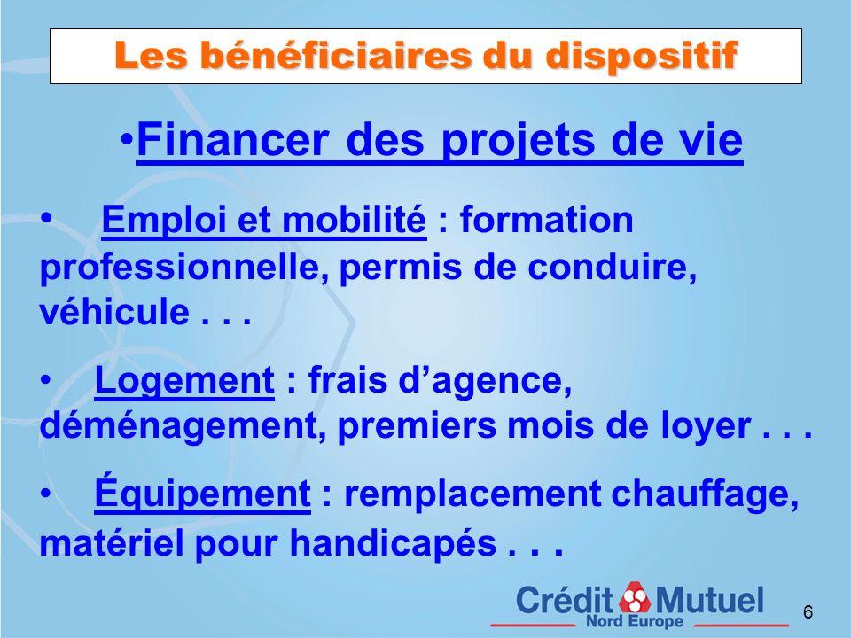 6 Les bénéficiaires du dispositif Financer des projets de vie Emploi et mobilité : formation professionnelle, permis de conduire, véhicule... Logement