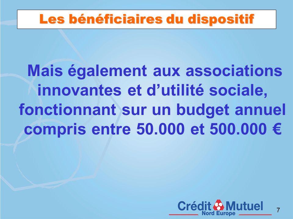7 Les bénéficiaires du dispositif Mais également aux associations innovantes et dutilité sociale, fonctionnant sur un budget annuel compris entre 50.0