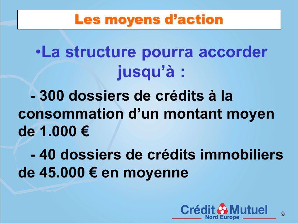 9 Les moyens daction La structure pourra accorder jusquà : - 300 dossiers de crédits à la consommation dun montant moyen de 1.000 - 40 dossiers de cré