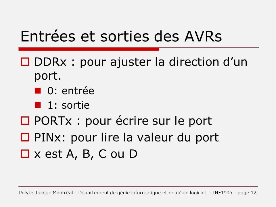 Entrées et sorties des AVRs DDRx : pour ajuster la direction dun port.