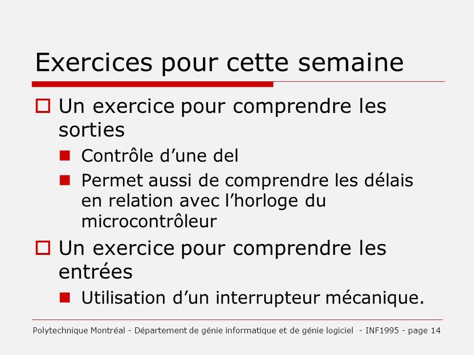 Exercices pour cette semaine Un exercice pour comprendre les sorties Contrôle dune del Permet aussi de comprendre les délais en relation avec lhorloge du microcontrôleur Un exercice pour comprendre les entrées Utilisation dun interrupteur mécanique.