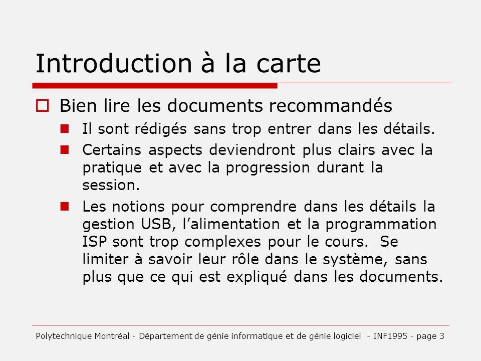 Introduction à la carte Bien lire les documents recommandés Il sont rédigés sans trop entrer dans les détails.