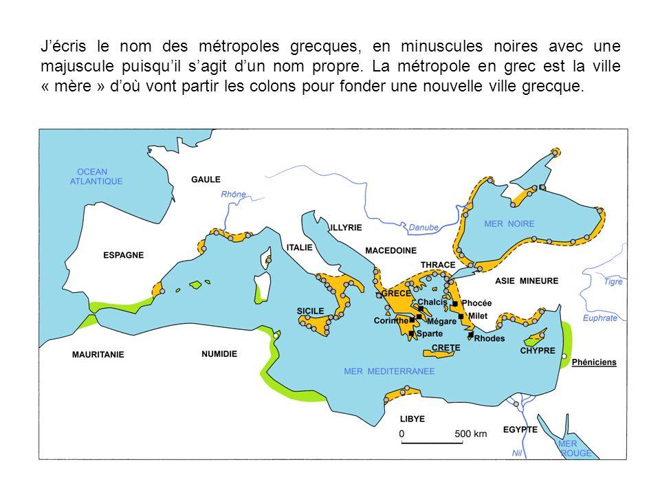 J écris le nom de ces colonies grecques ; je repasse en rouge sur les points qui les figurent, cela rend ma carte plus lisible.
