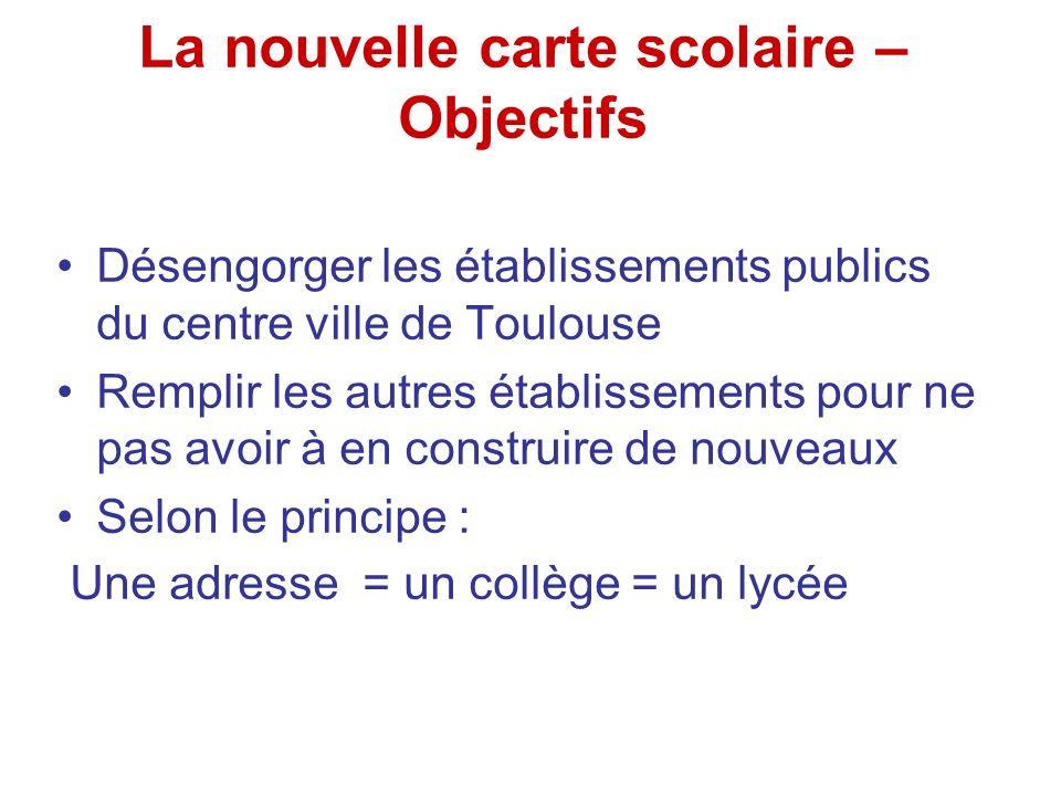 La nouvelle carte scolaire – Objectifs Désengorger les établissements publics du centre ville de Toulouse Remplir les autres établissements pour ne pa