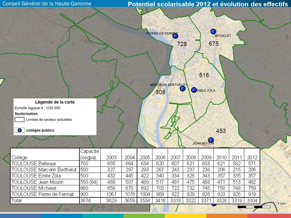 Potentiel scolarisable 2012 et évolution des effectifs 728 675 516 308 453 826