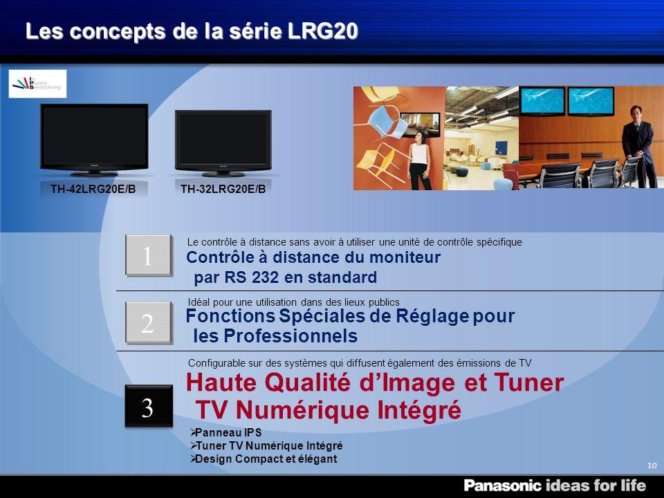 TH-32LRG20E/B TH-42LRG20E/B Les concepts de la série LRG20 1 10 2 Haute Qualité dImage et Tuner TV Numérique Intégré Configurable sur des systèmes qui diffusent également des émissions de TV Panneau IPS Tuner TV Numérique Intégré Design Compact et élégant Contrôle à distance du moniteur par RS 232 en standard Le contrôle à distance sans avoir à utiliser une unité de contrôle spécifique Fonctions Spéciales de Réglage pour les Professionnels Idéal pour une utilisation dans des lieux publics 21 3