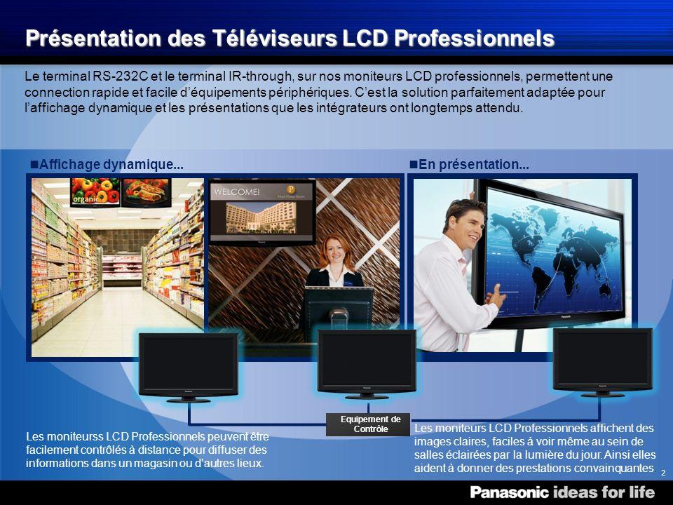 Téléviseur LCD Professionnel Ligne de Produits 2010 des Téléviseurs LCD Professionnels Contrôle à Distance du Moniteur par RS 232 en Standard Un terminal RS-232C est fourni pour recevoir les signaux dun contrôleur externe.