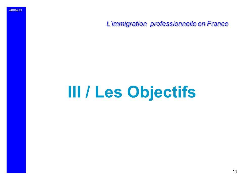 MIIINDS III / Les Objectifs 11 Limmigration professionnelle en France