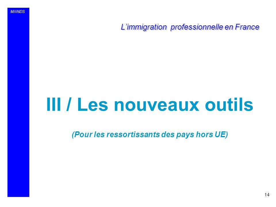 MIIINDS III / Les nouveaux outils (Pour les ressortissants des pays hors UE) 14 Limmigration professionnelle en France