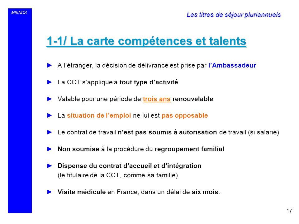 MIIINDS 1-1/ La carte compétences et talents A létranger, la décision de délivrance est prise par lAmbassadeur La CCT sapplique à tout type dactivité