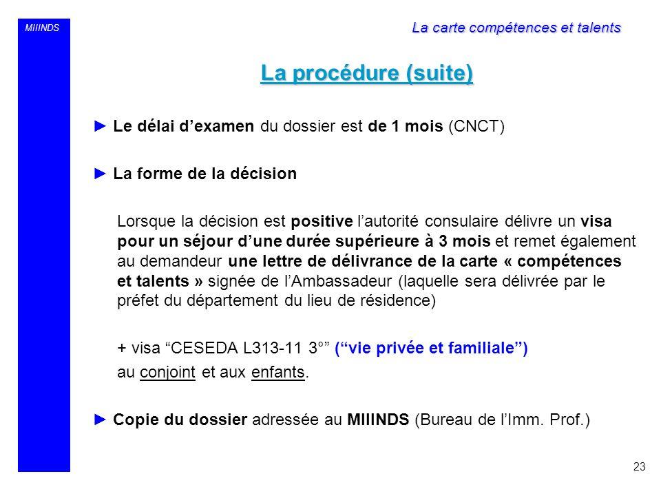 MIIINDS La procédure (suite) Le délai dexamen du dossier est de 1 mois (CNCT) La forme de la décision Lorsque la décision est positive lautorité consu