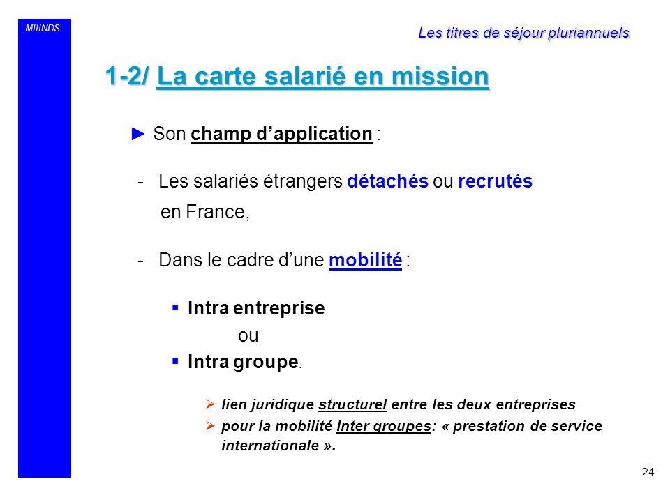 MIIINDS 1-2/ La carte salarié en mission Son champ dapplication : -Les salariés étrangers détachés ou recrutés en France, -Dans le cadre dune mobilité