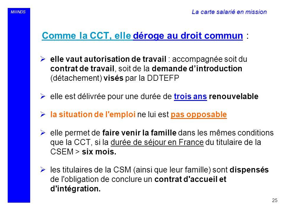 MIIINDS Comme la CCT, elle déroge au droit commun : elle vaut autorisation de travail : accompagnée soit du contrat de travail, soit de la demande din