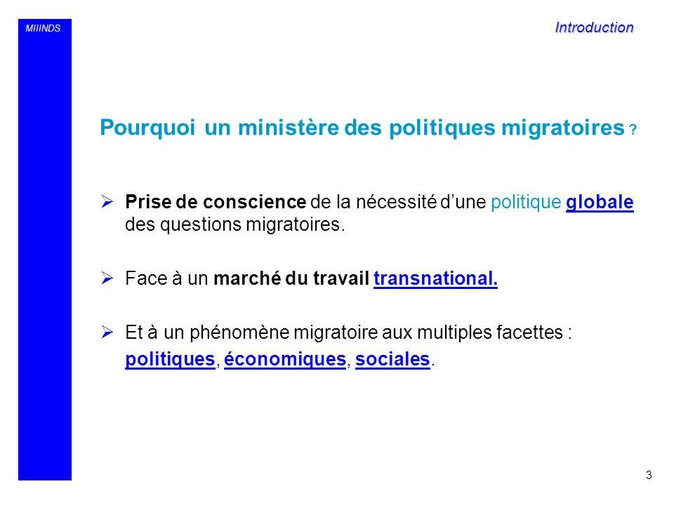 MIIINDS Pourquoi un ministère des politiques migratoires ? Prise de conscience de la nécessité dune politique globale des questions migratoires. Face
