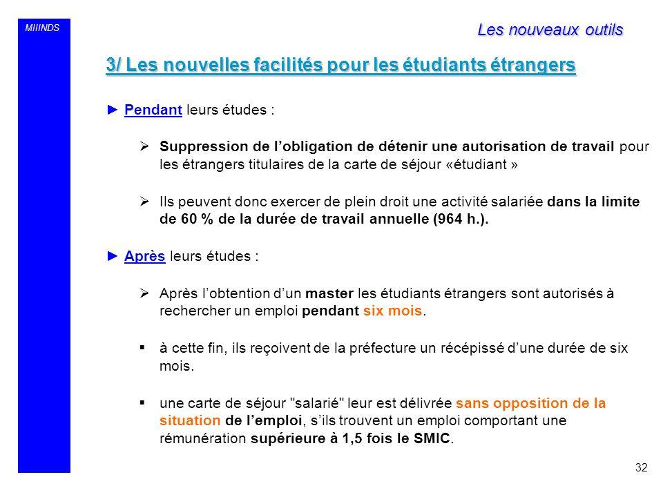 MIIINDS 3/ Les nouvelles facilités pour les étudiants étrangers Pendant leurs études : Suppression de lobligation de détenir une autorisation de trava