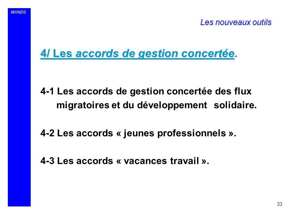 MIIINDS 4/ Les accords de gestion concertée. 4-1 Les accords de gestion concertée des flux migratoires et du développement solidaire. 4-2 Les accords