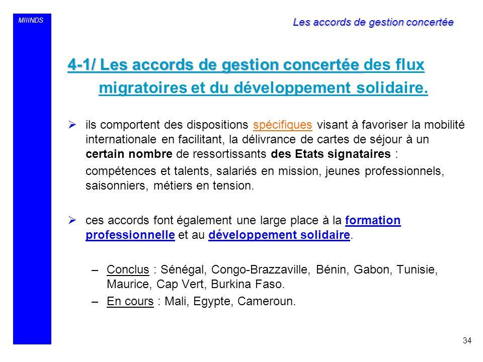MIIINDS 4-1/ Les accords de gestion concertée 4-1/ Les accords de gestion concertée des flux migratoires et du développement solidaire. ils comportent