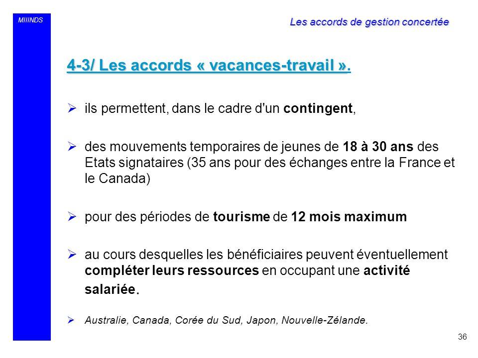 MIIINDS 4-3/ Les accords « vacances-travail » 4-3/ Les accords « vacances-travail ». ils permettent, dans le cadre d'un contingent, des mouvements tem
