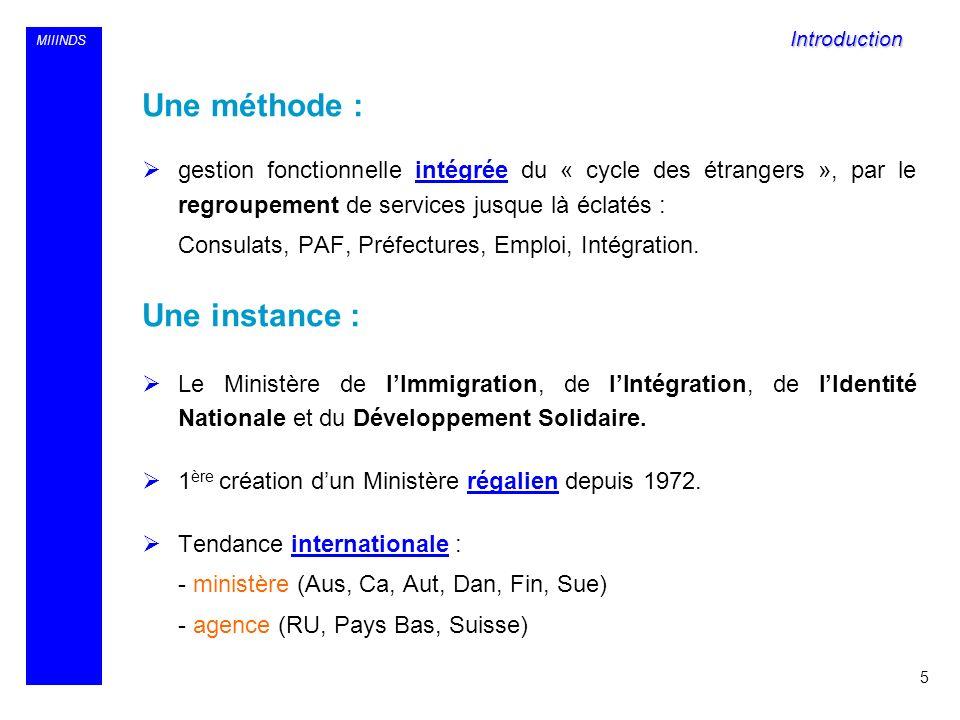 MIIINDS Une méthode : gestion fonctionnelle intégrée du « cycle des étrangers », par le regroupement de services jusque là éclatés : Consulats, PAF, P