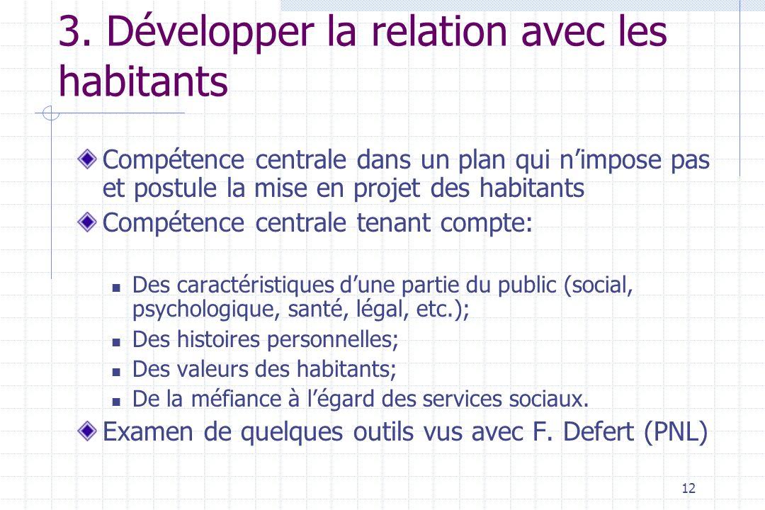 12 3. Développer la relation avec les habitants Compétence centrale dans un plan qui nimpose pas et postule la mise en projet des habitants Compétence