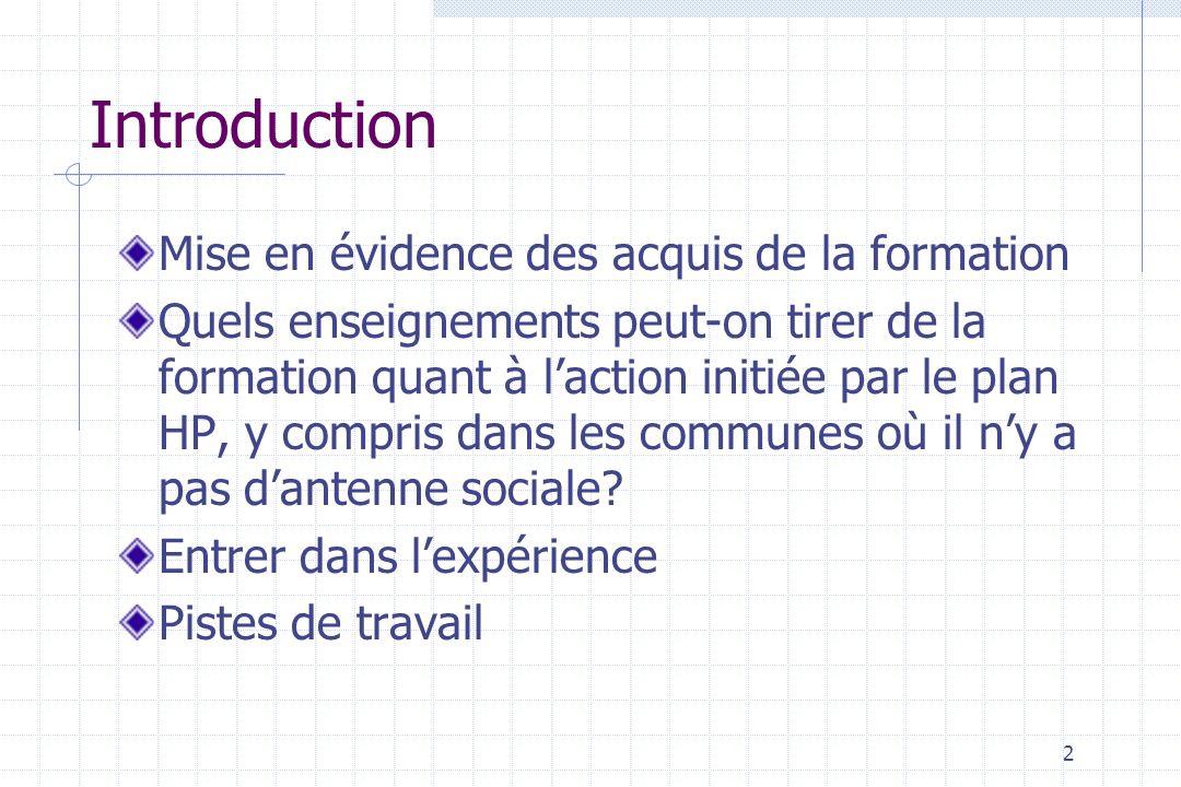 2 Introduction Mise en évidence des acquis de la formation Quels enseignements peut-on tirer de la formation quant à laction initiée par le plan HP, y