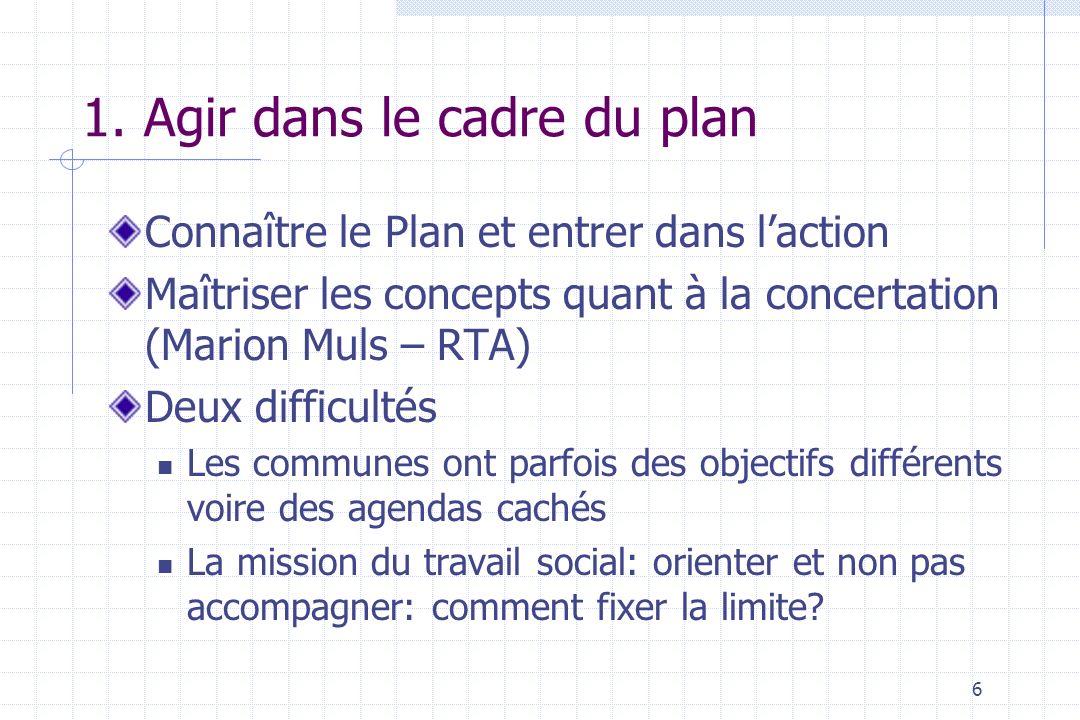 6 1. Agir dans le cadre du plan Connaître le Plan et entrer dans laction Maîtriser les concepts quant à la concertation (Marion Muls – RTA) Deux diffi
