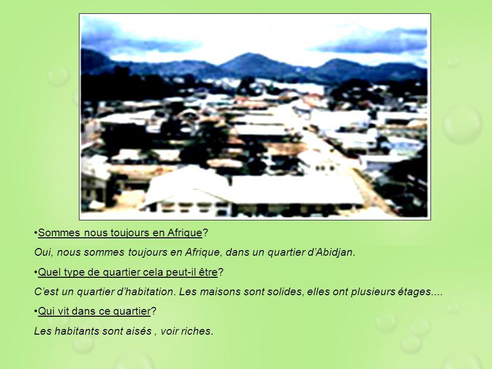 Sommes nous toujours en Afrique? Oui, nous sommes toujours en Afrique, dans un quartier dAbidjan. Quel type de quartier cela peut-il être? Cest un qua