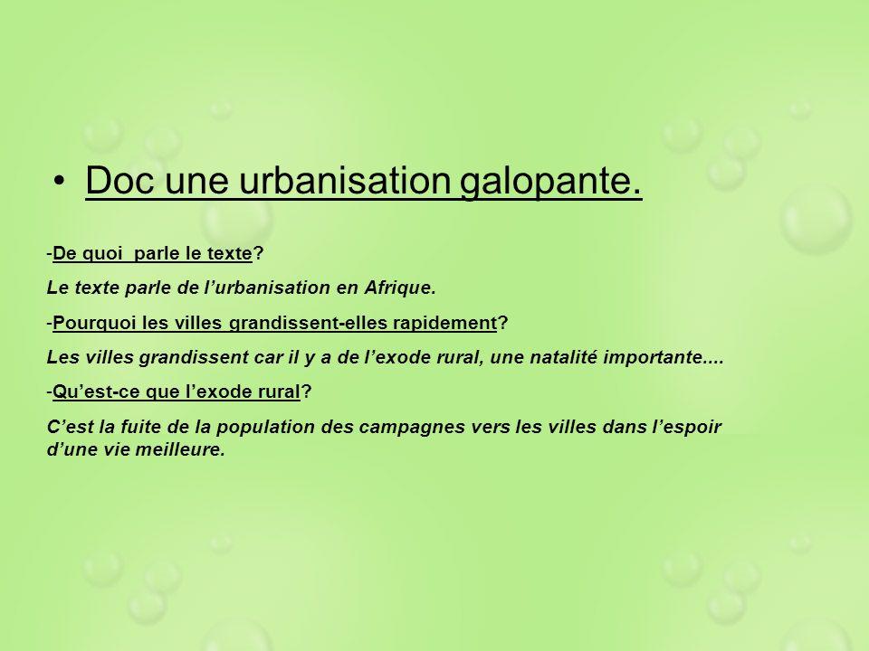 Doc une urbanisation galopante. -De quoi parle le texte? Le texte parle de lurbanisation en Afrique. -Pourquoi les villes grandissent-elles rapidement